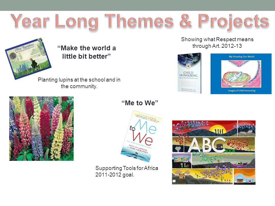 Year Long Themes & Projects Make the world a little bit better