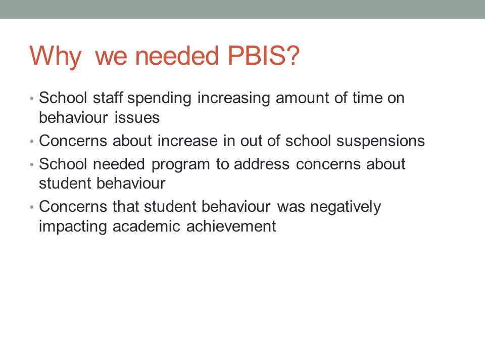 Why we needed PBIS School staff spending increasing amount of time on behaviour issues. Concerns about increase in out of school suspensions.