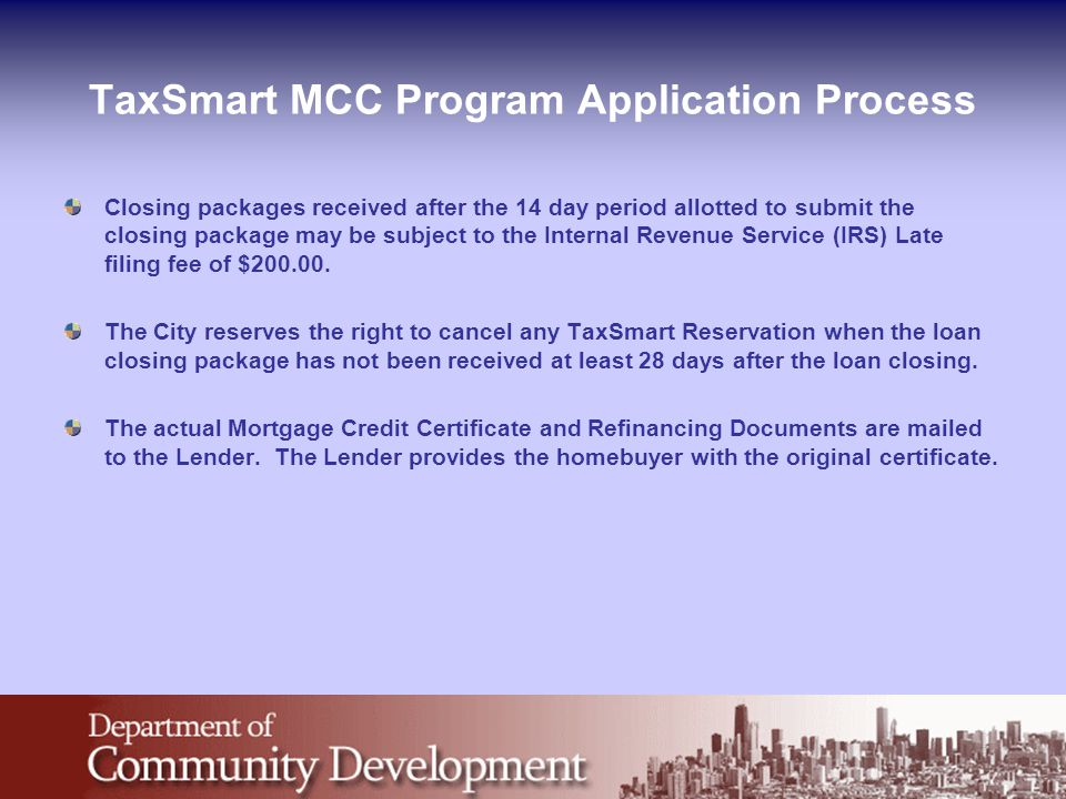 TaxSmart MCC Program Application Process