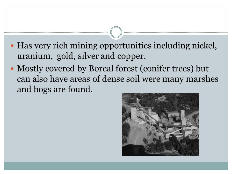 Has very rich mining opportunities including nickel, uranium, gold, silver and copper.