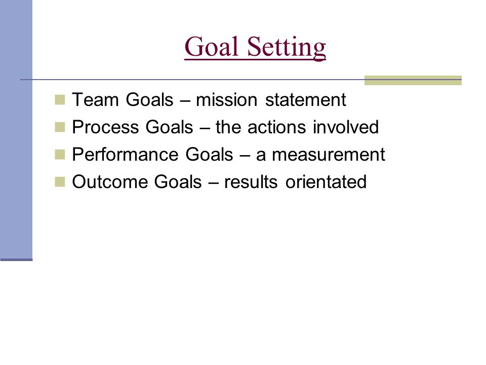 Goal Setting Team Goals – mission statement