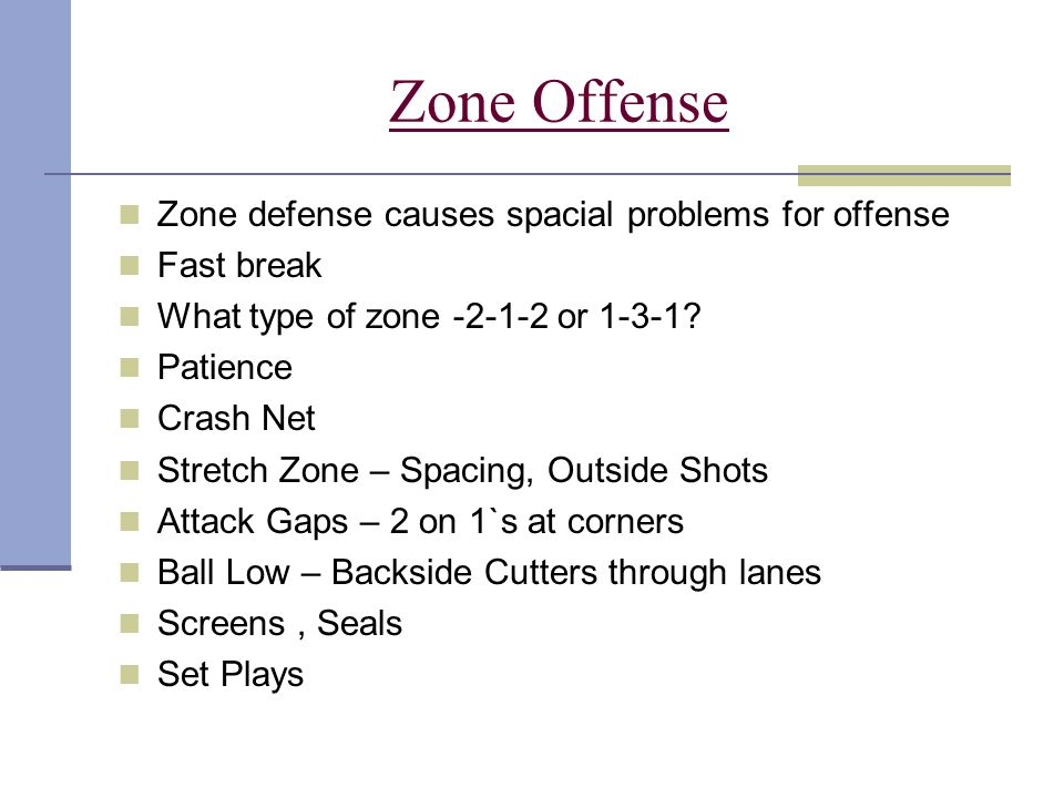 Zone Offense Zone defense causes spacial problems for offense
