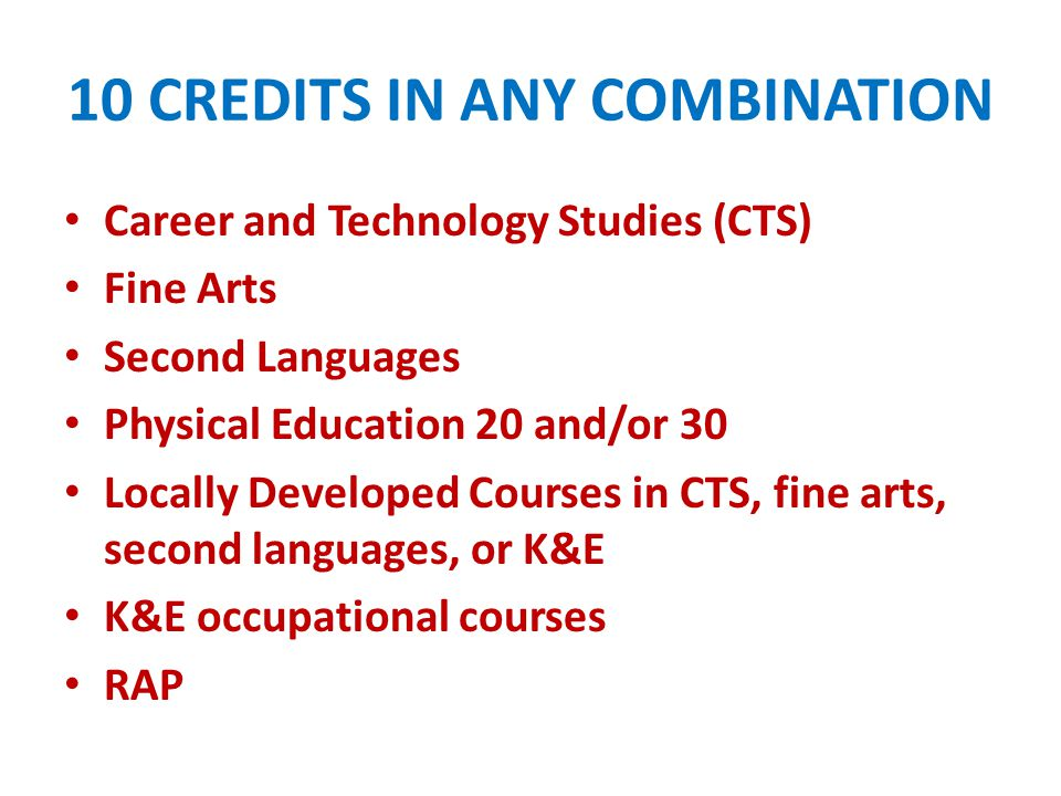 10 CREDITS IN ANY COMBINATION