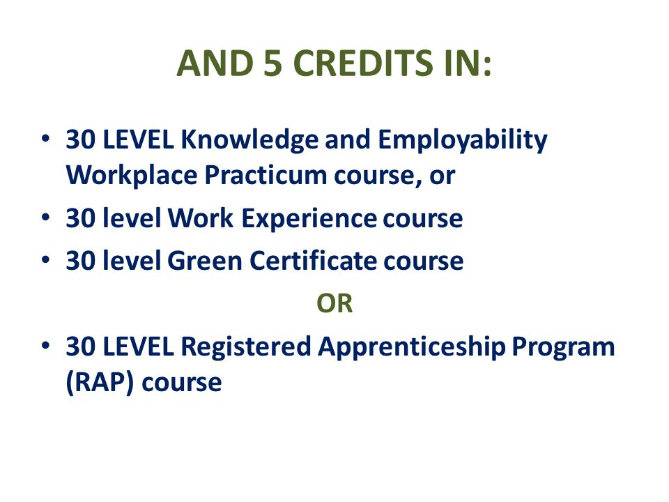AND 5 CREDITS IN: 30 LEVEL Knowledge and Employability Workplace Practicum course, or. 30 level Work Experience course.