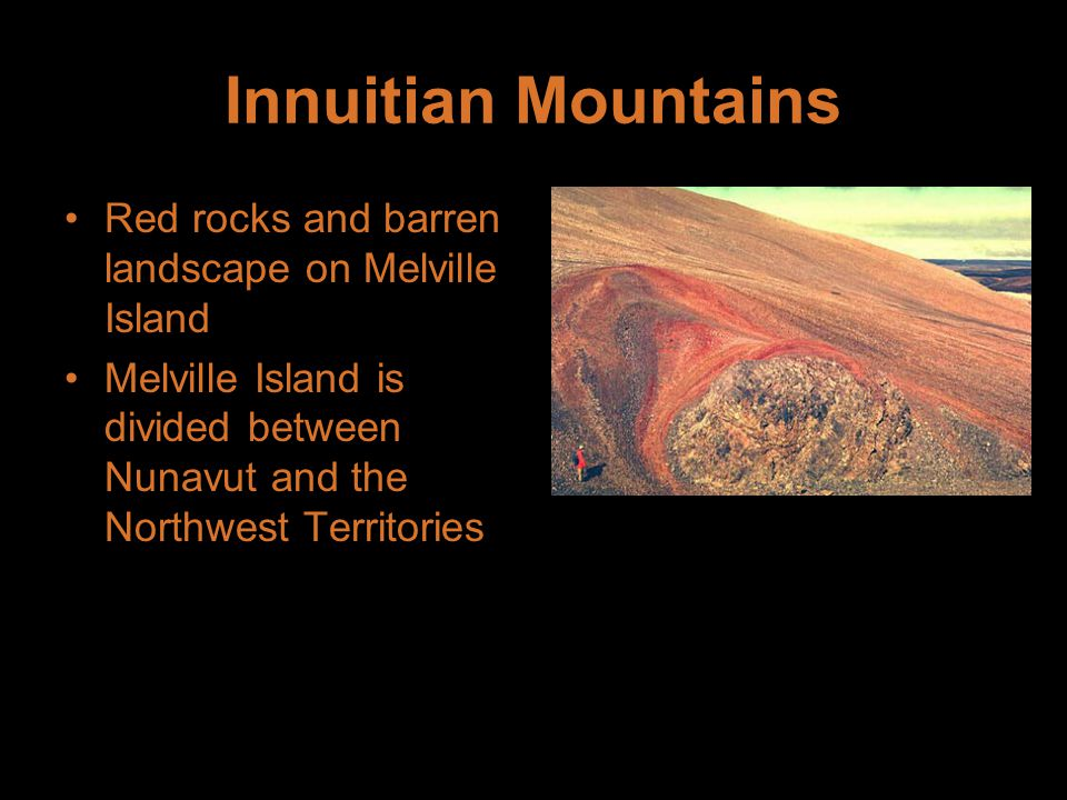 Innuitian Mountains Red rocks and barren landscape on Melville Island