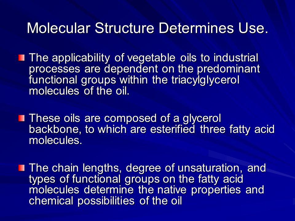 Molecular Structure Determines Use.
