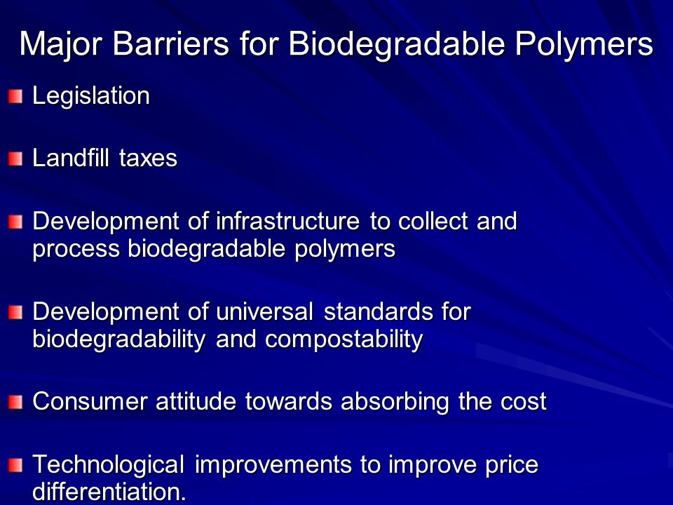 Major Barriers for Biodegradable Polymers