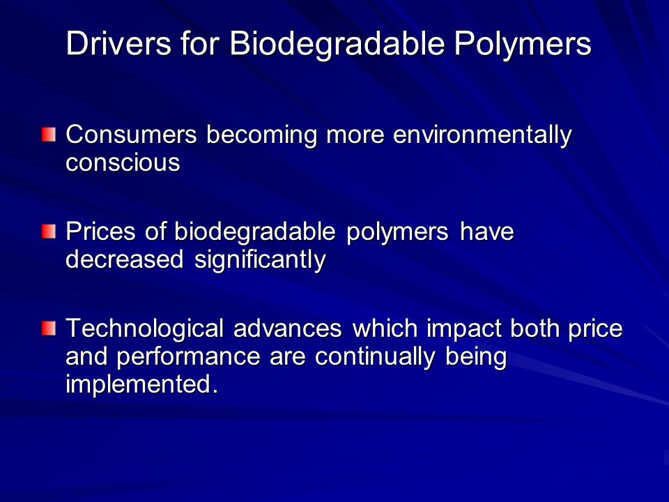 Drivers for Biodegradable Polymers