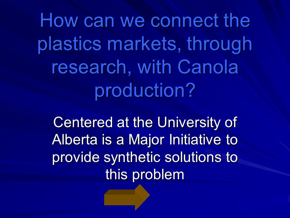 How can we connect the plastics markets, through research, with Canola production