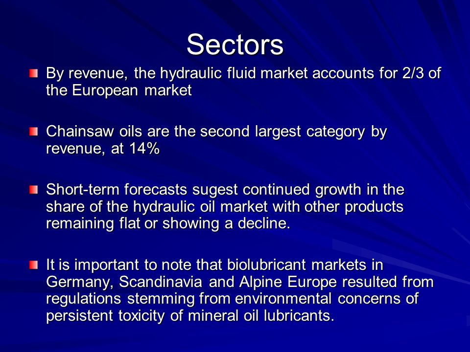 Sectors By revenue, the hydraulic fluid market accounts for 2/3 of the European market.