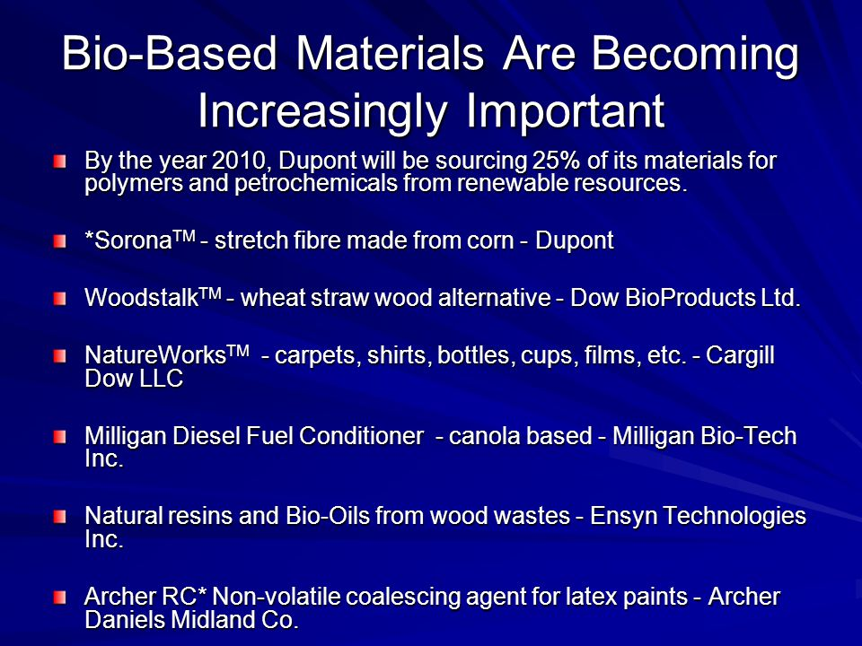 Bio-Based Materials Are Becoming Increasingly Important