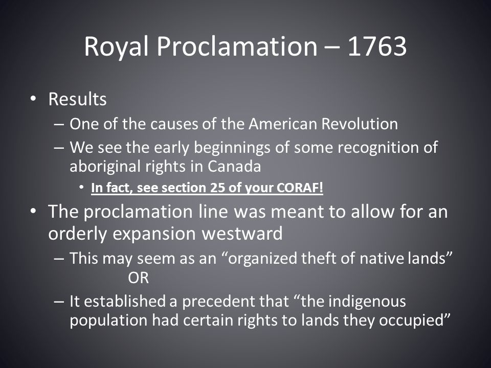 Royal Proclamation – 1763 Results