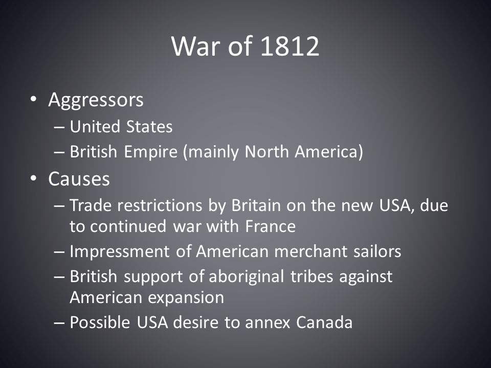 War of 1812 Aggressors Causes United States