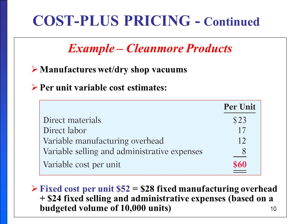 COST-PLUS PRICING - Continued