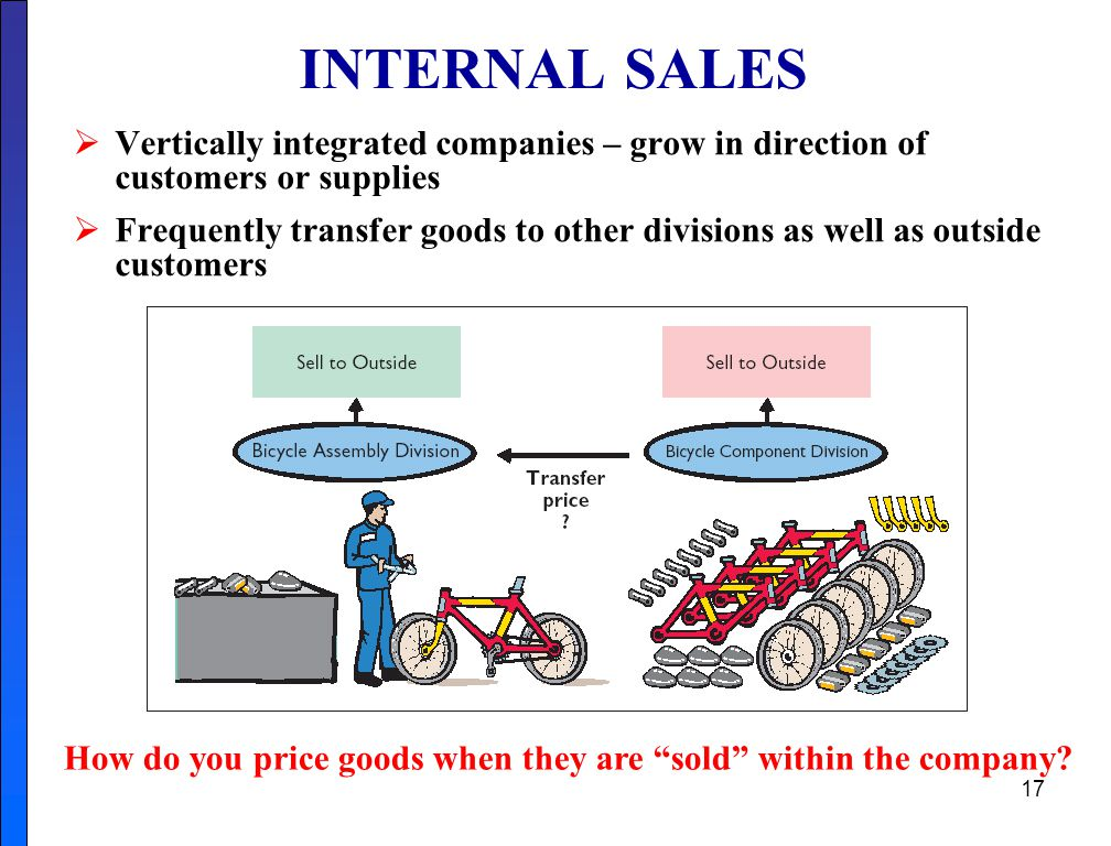 How do you price goods when they are sold within the company