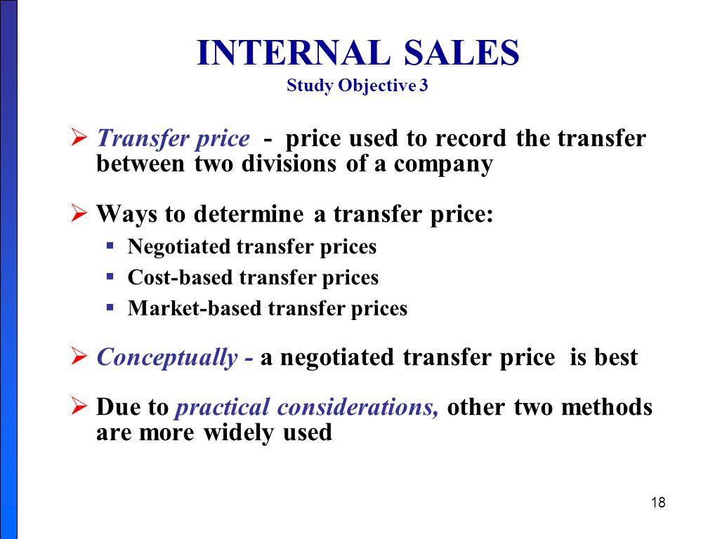 INTERNAL SALES Study Objective 3