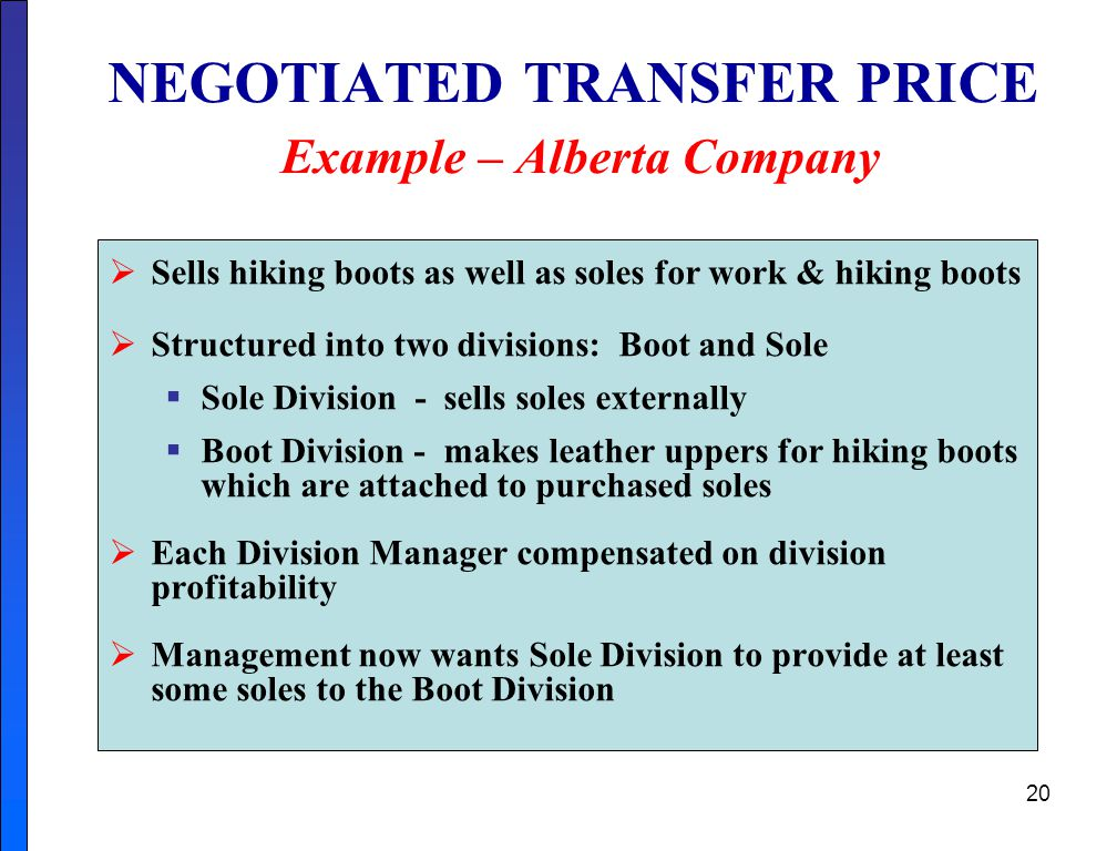 NEGOTIATED TRANSFER PRICE Example – Alberta Company