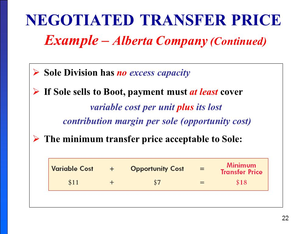 NEGOTIATED TRANSFER PRICE Example – Alberta Company (Continued)