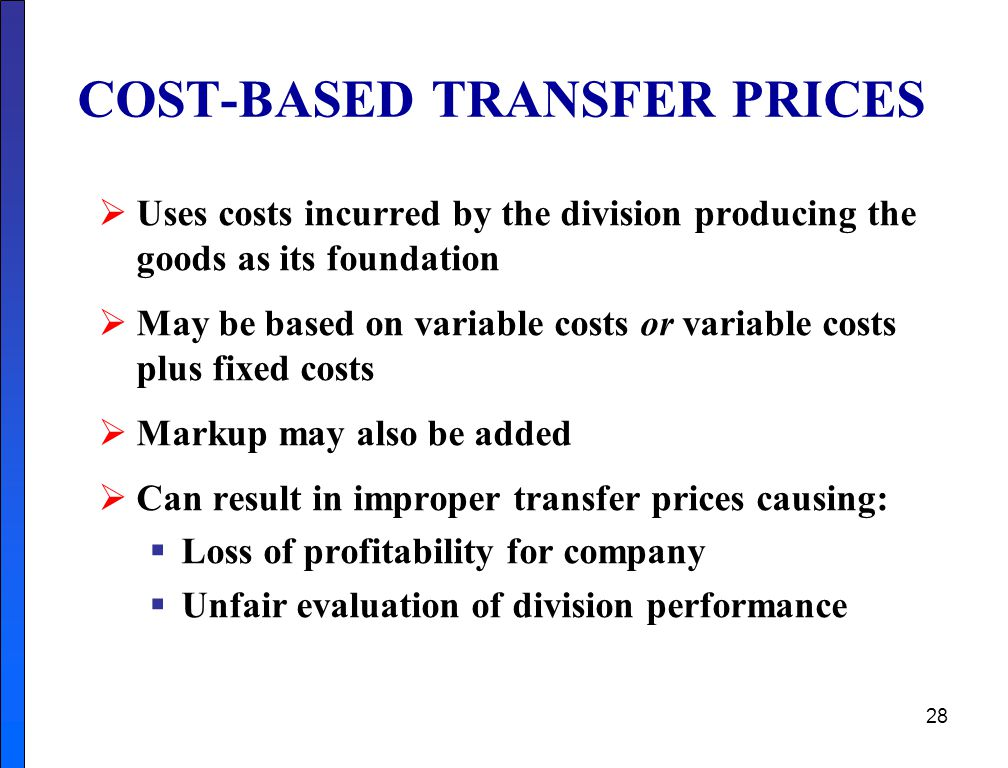 COST-BASED TRANSFER PRICES
