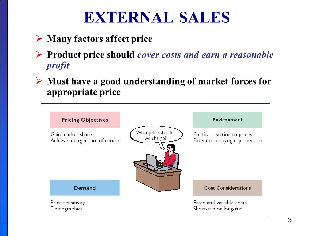 EXTERNAL SALES Many factors affect price