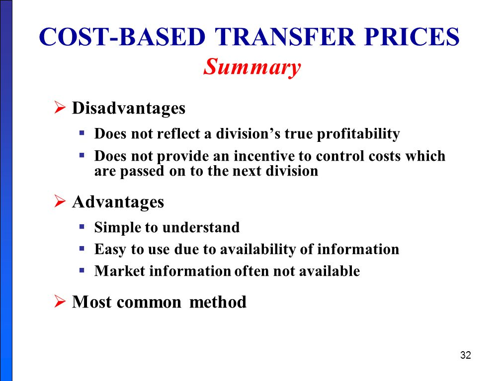 COST-BASED TRANSFER PRICES Summary