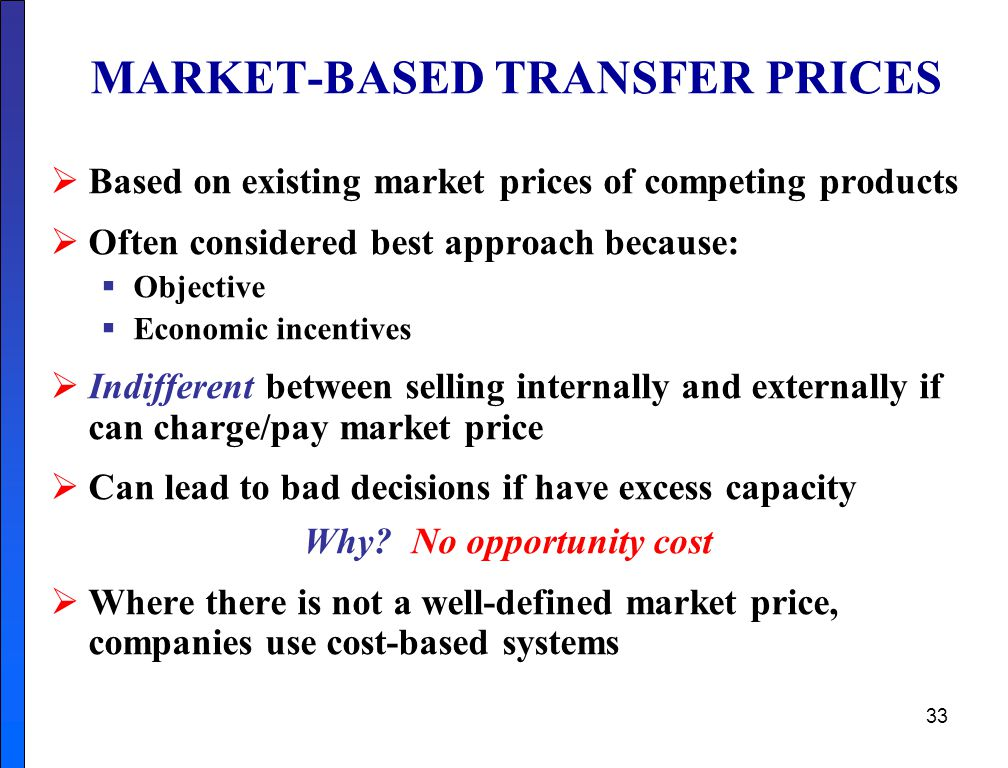 MARKET-BASED TRANSFER PRICES