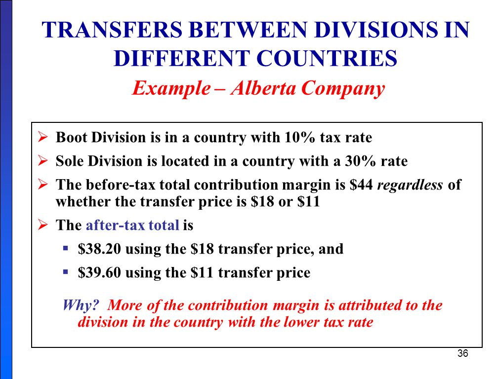 TRANSFERS BETWEEN DIVISIONS IN DIFFERENT COUNTRIES Example – Alberta Company