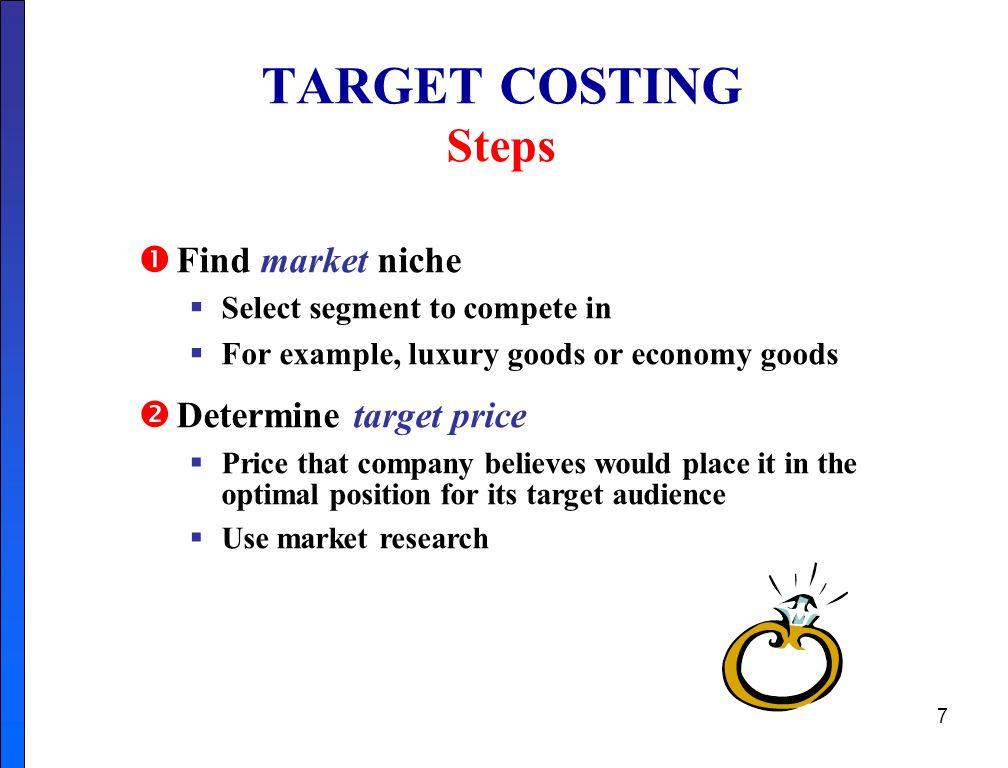 TARGET COSTING Steps Find market niche Determine target price