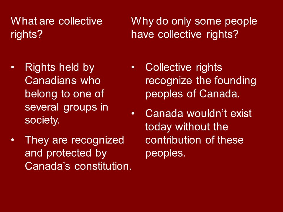 What are collective rights Rights held by Canadians who belong to one of several groups in society.