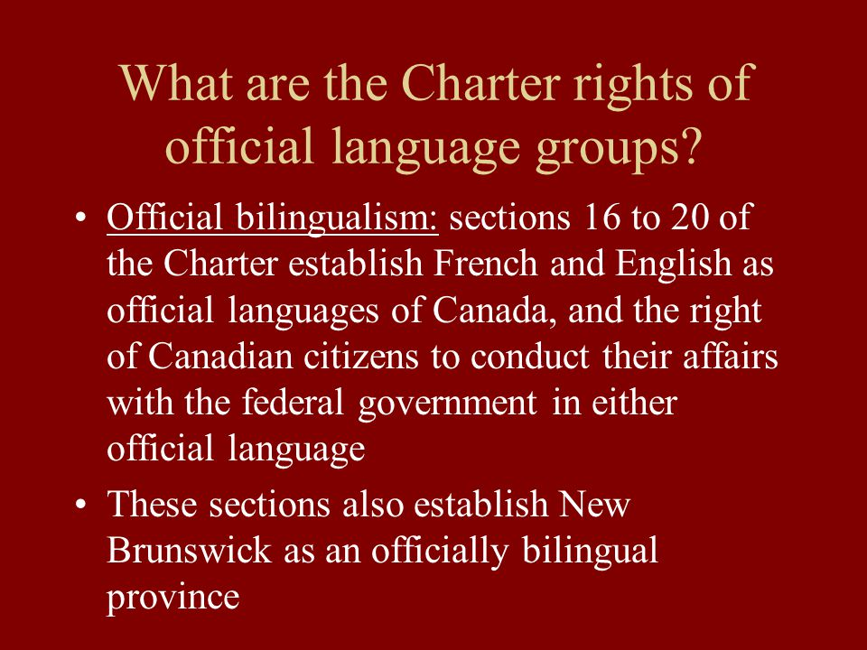What are the Charter rights of official language groups