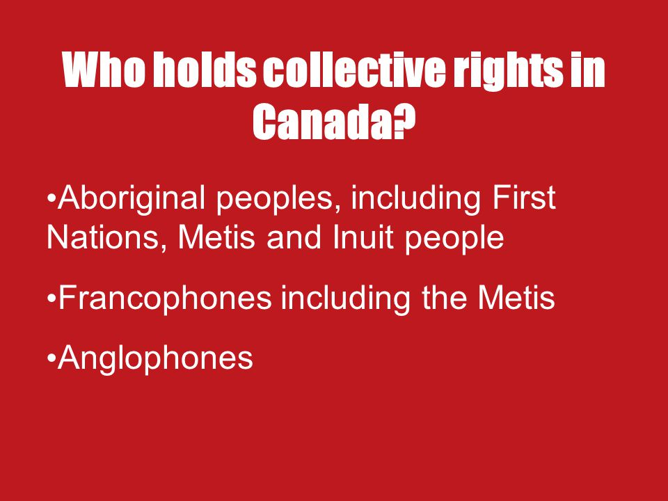 Who holds collective rights in Canada