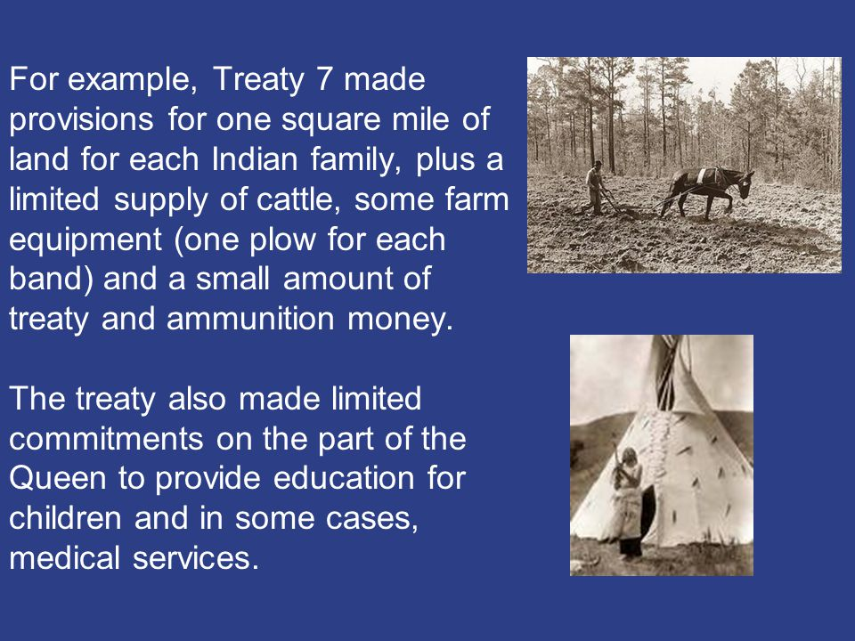For example, Treaty 7 made provisions for one square mile of land for each Indian family, plus a limited supply of cattle, some farm equipment (one plow for each band) and a small amount of treaty and ammunition money.