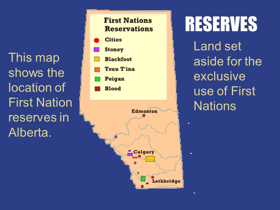 This map shows the location of First Nation reserves in Alberta.