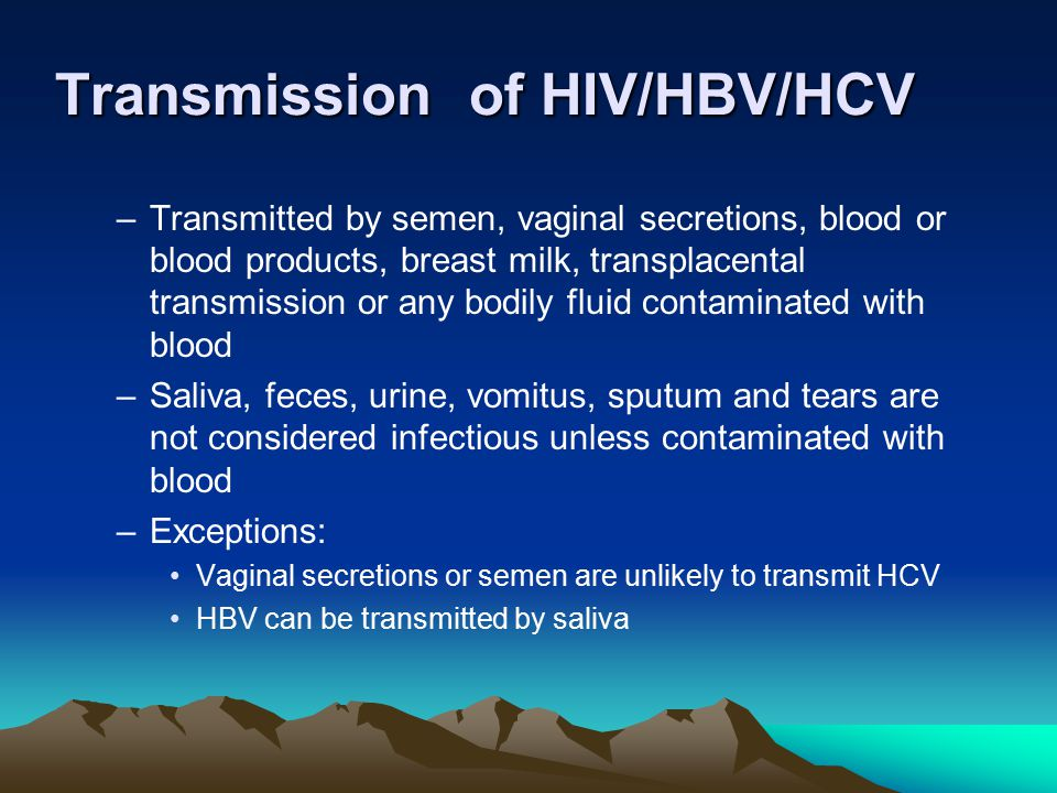 Transmission of HIV/HBV/HCV