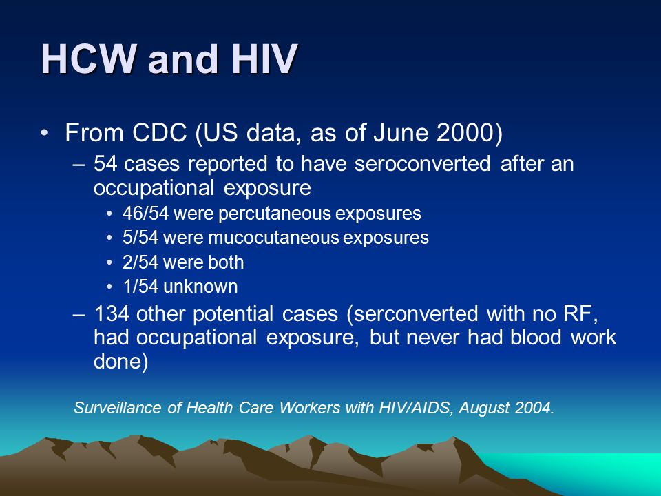 HCW and HIV From CDC (US data, as of June 2000)