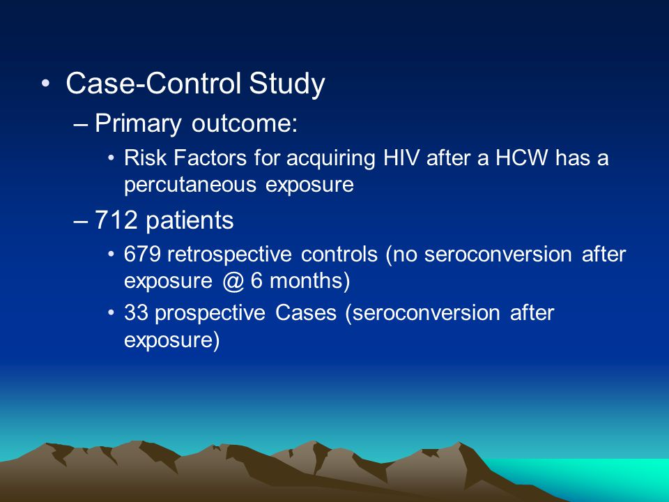 Case-Control Study Primary outcome: 712 patients