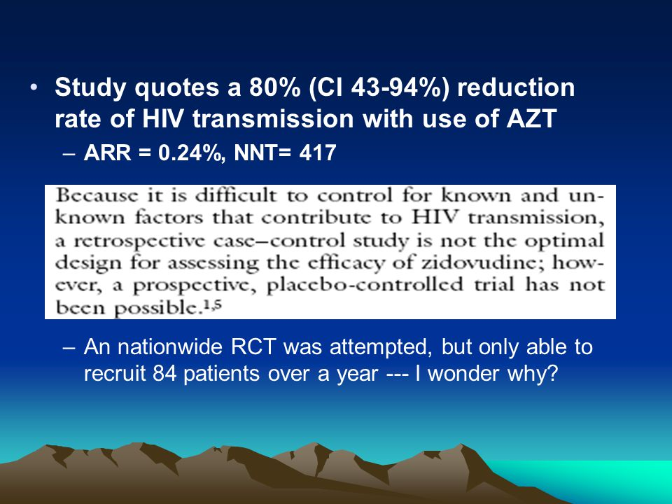 Study quotes a 80% (CI 43-94%) reduction rate of HIV transmission with use of AZT