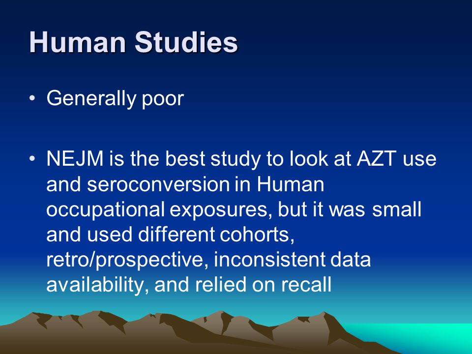 Human Studies Generally poor