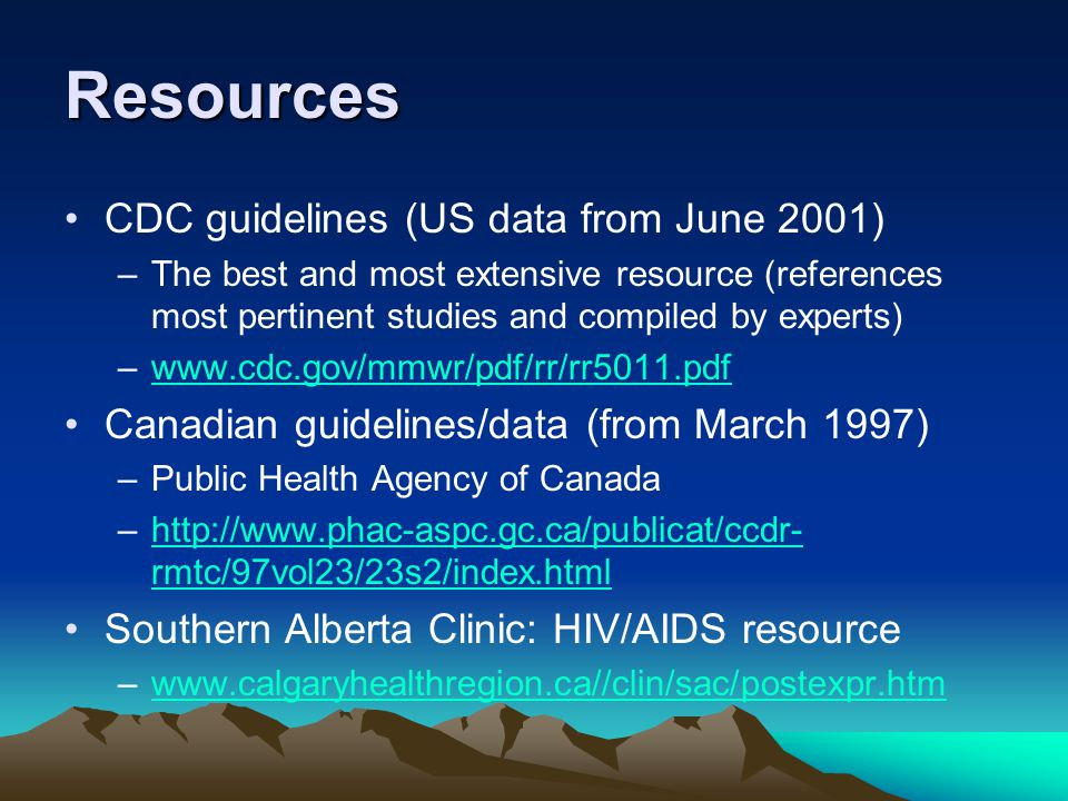 Resources CDC guidelines (US data from June 2001)
