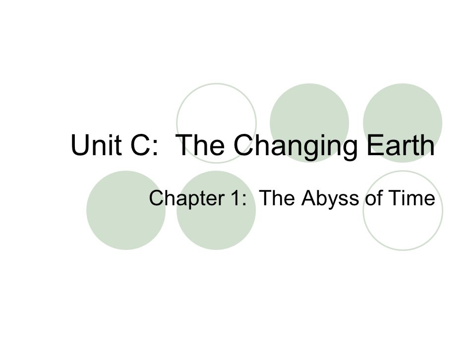 Unit C: The Changing Earth