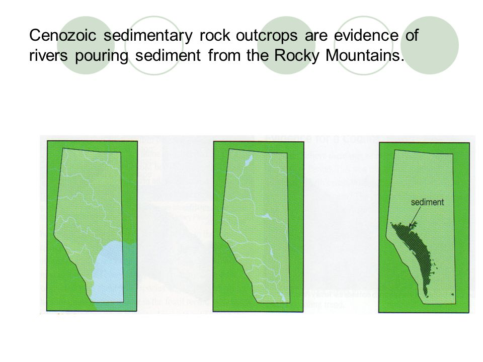 Cenozoic sedimentary rock outcrops are evidence of rivers pouring sediment from the Rocky Mountains.