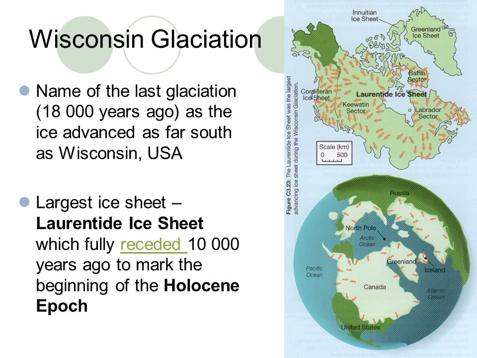 Wisconsin Glaciation Name of the last glaciation (18 000 years ago) as the ice advanced as far south as Wisconsin, USA.