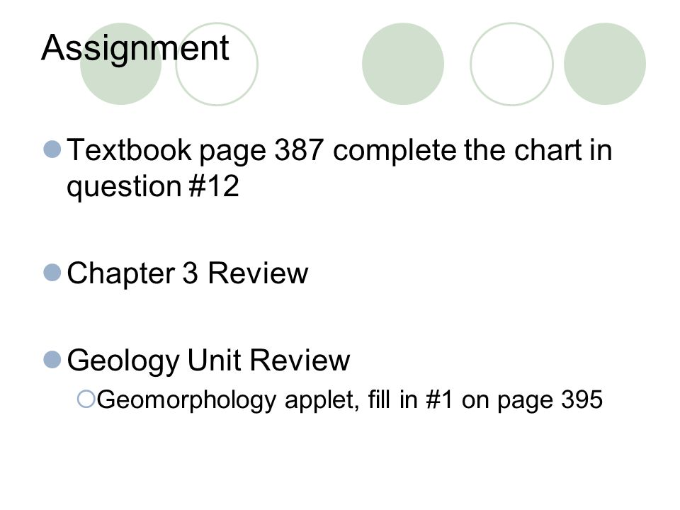Assignment Textbook page 387 complete the chart in question #12