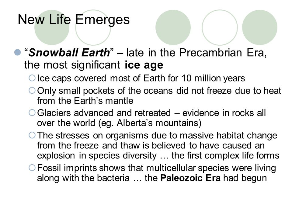 New Life Emerges Snowball Earth – late in the Precambrian Era, the most significant ice age. Ice caps covered most of Earth for 10 million years.