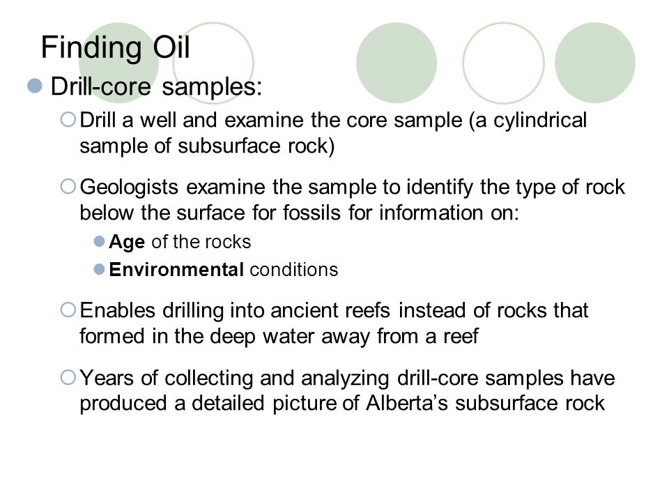 Finding Oil Drill-core samples: