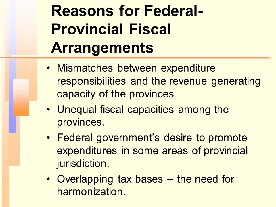 Reasons for Federal-Provincial Fiscal Arrangements