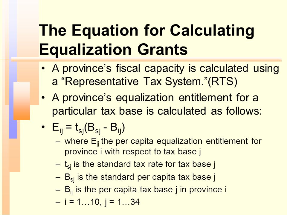 The Equation for Calculating Equalization Grants