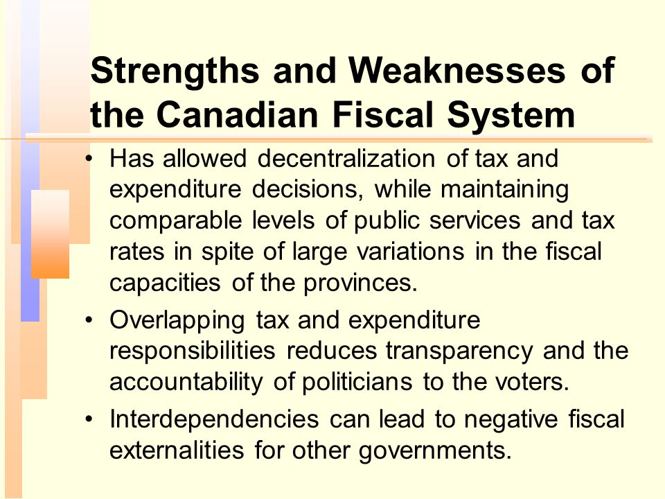 Strengths and Weaknesses of the Canadian Fiscal System