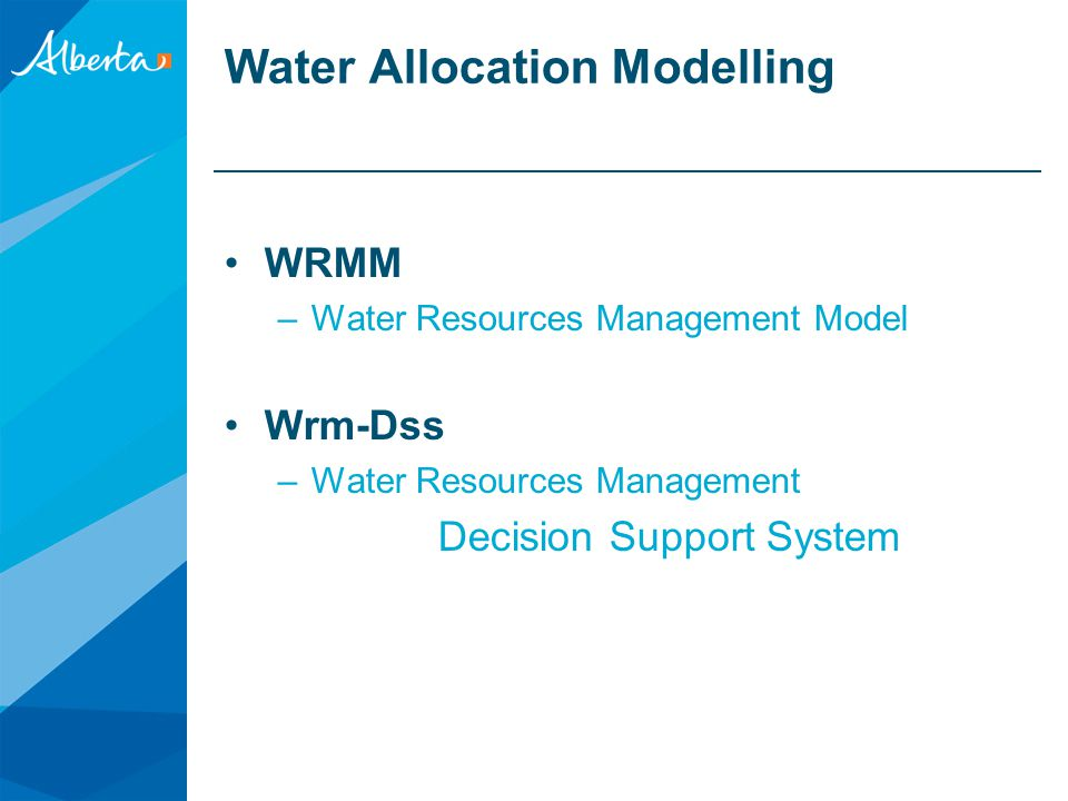 Water Allocation Modelling