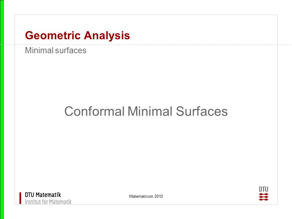 Conformal Minimal Surfaces